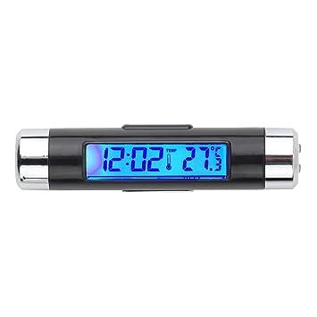 GerTong - Reloj Digital con Pantalla LCD para Coche (retroiluminación, termómetro, Calendario): Amazon.es: Coche y moto