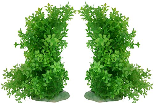 ByTheBay Plastic Aquarium Plant Set - Flexible Fish Tank Decorations - 2 Piece Bundle ()