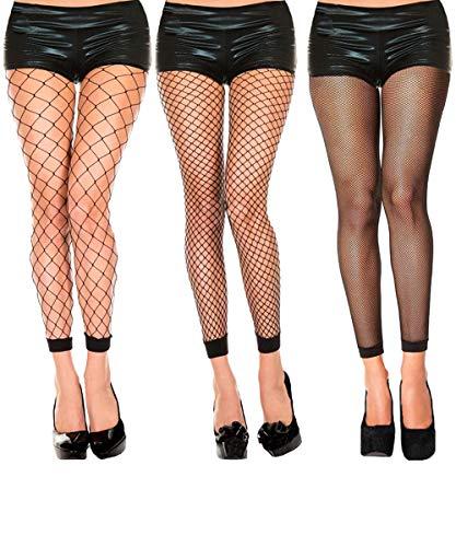 Abberrki Womens High Waist Fishnet Footless Tights Spandex Pantyhose Stockings(3 pairs) ()