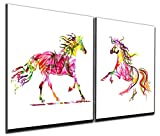 Gardenia Art - Colorful Running Horses Canvas Prints Modern Wall Art Abstract Paintings Stretched and Framed Giclee Artwork for Room Decoration,12x12 inch, Framed, 2 pce/set