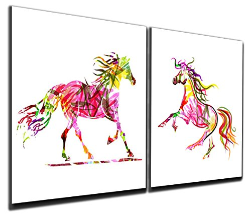 Gardenia Art - Colorful Running Horses Canvas Prints Modern