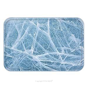 kotwdq suave absorbente Felpudo alfombra alfombra alfombra Textura de hielo de lago Baikal en Siberia para interior/exterior/cuarto de baño/cocina/Estaciones de trabajo 18x 30inch d11492