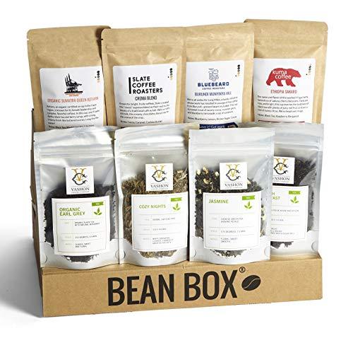Bean Box – Coffee and Tea Gift Box (Whole Bean, 4 Coffees + 4 Teas)