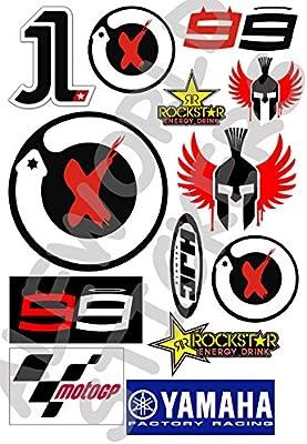 AWS Kit 13 Pegatinas Replica Jorge Lorenzo 99 Stickers impermeables para coche moto formatos A4 o