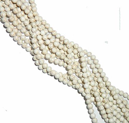 Turquoise Magnesite - Rockin Beads 8mm Magnesite White Buffalo Turquoise Round Beads 15 inch loose Stand Gemstone
