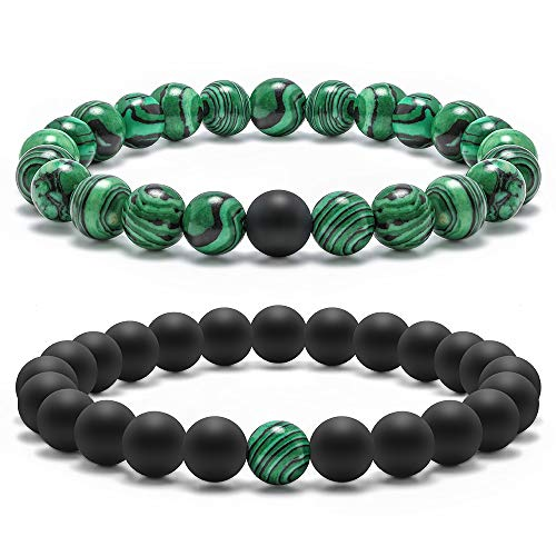 Natural Stone Beads Bracelet, 8mm Natural Malachite Stones and Black Matte AgateBeads Bracelet, Men Women Stress Relief Yoga Beads Elastic Bracelet Energy Stone Gemstone Beads Bracelet ( 2 -