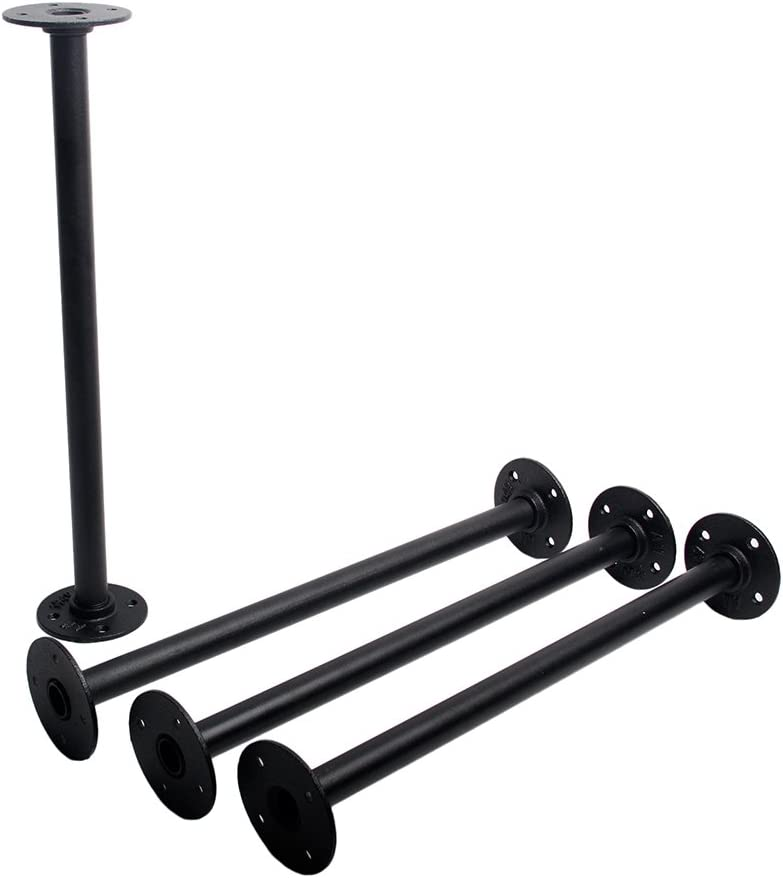 Industrial Pipe Furniture Legs,GoYonder DIY CoffeeTable Legs with Flanges,Side Table, Bench, Shelf, Night Stand (Black Finish, 18-Inch)
