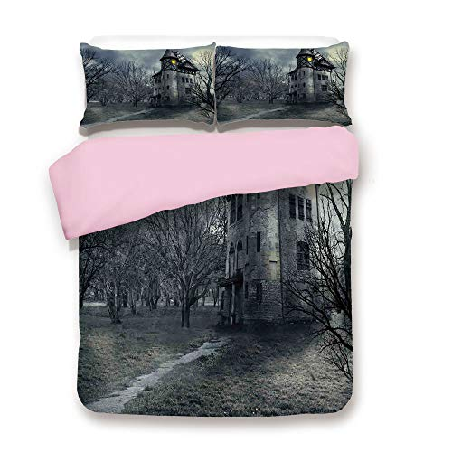 Pink Duvet Cover Set,FULL Size,Halloween Design with Gothic