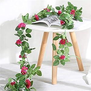 JONARO 2 Pack 230cm Artificial Flower Vines Wedding Decor Rose Fake Flowers Rattan String Garden Hanging Garland Silk Flower Plant Leaf 33