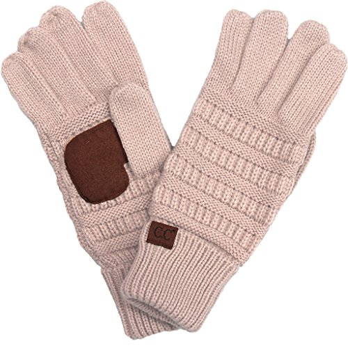 Glove Pink Womens (BYSUMMER C.C. Smart Touch Winter Warm Knit Touchscreen Texting Gloves (Indi Pink))