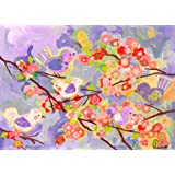 Oopsy Daisy Cherry Blossom Birdies Lavender and Coral by Winborg Sisters Canvas Wall Art, 14 by 10-Inch