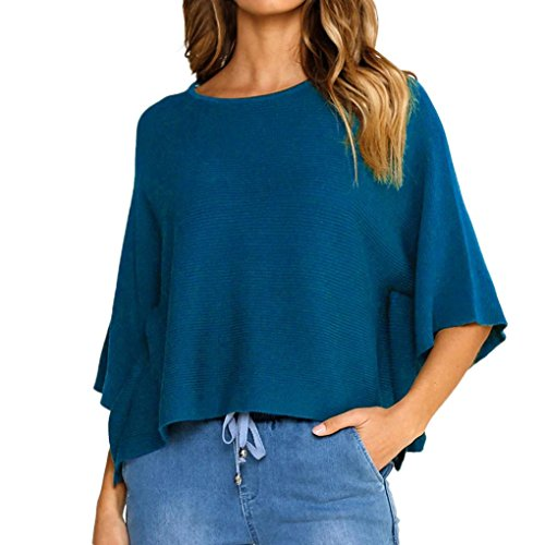Hattfart Women's Sexy Long Batwing Sleeve Round Neck Loose Pullover Casual Top Blouse T-Shirt (Blue, M) by Hattfart