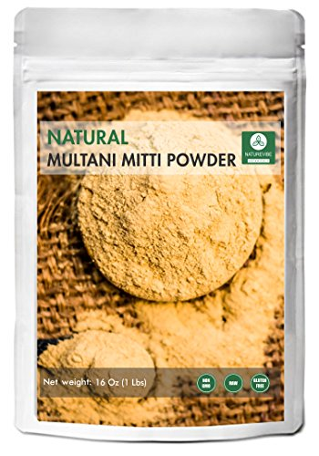 100% Pure & Natural Multani Mitti Powder (The Indian Bentonite Clay) (1lb) by Naturevibe Botanicals, For Skin Care (16 ounces)