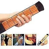Pocket Guitar,FOME Wooden Pocket Guitar 6 Fret Portable Guitar Practice Tool Guitar Finger Exerciser Fretboard with Tuning Tool Carry Bag for Beginner Fingering Chord Trainer