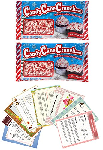 Crushed Peppermint Candy Holiday Gift Kit, 2 Bags Minty and Delicious Candy Cane Crunch Crush Candies Baking Supplies Plus 8 Beautifully Decorated Family Dessert Recipe Cards (Tree Soft Christmas Mints)