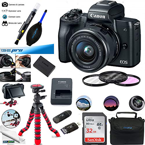 Canon EOS M50 Mirrorless Camera Kit w/EF-M15-45mm and 4K Video – Black – Essential Accessories Bundle