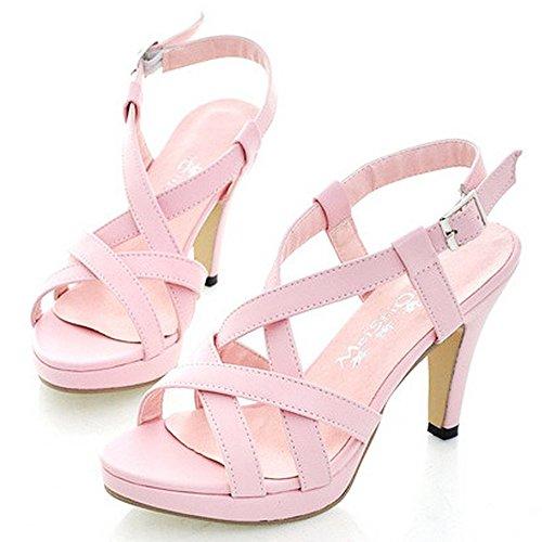 tiras mujer gladiador sandalias moda Peep con rosa Toe tiras Coolcept Stiletto dxR6qwEx