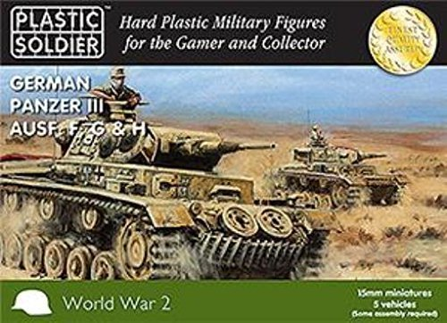 15mm WW2 German Panzer III F,G,H Tank by WWII Miniatures - Germany 15mm ()