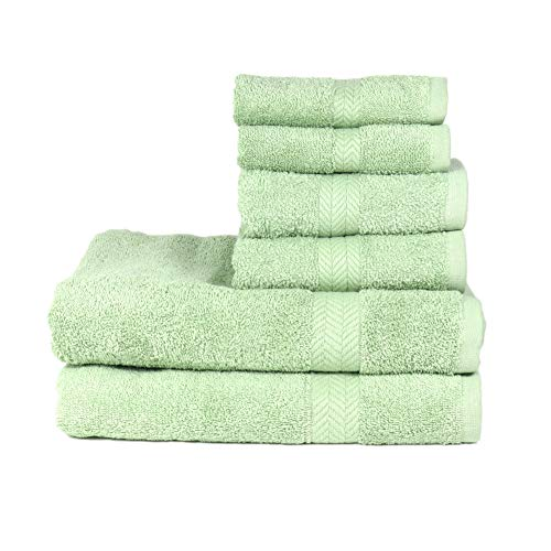 - Arkwright Chelsea 100% Cotton 6-Piece Towel Set | Premium Towels with Chevron Dobby | 2 Bath, 2 Hand, 2 Wash (Laurel)