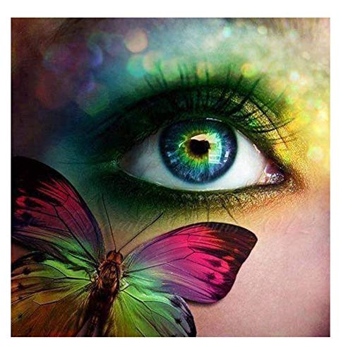 Werewtr Diamond Drawing 5D DIY Diamond Painting Heart Window-Eyes & Butterfly Diamond Embroidery Cross Stitch Mosaic Painting,60Cmx70Cm