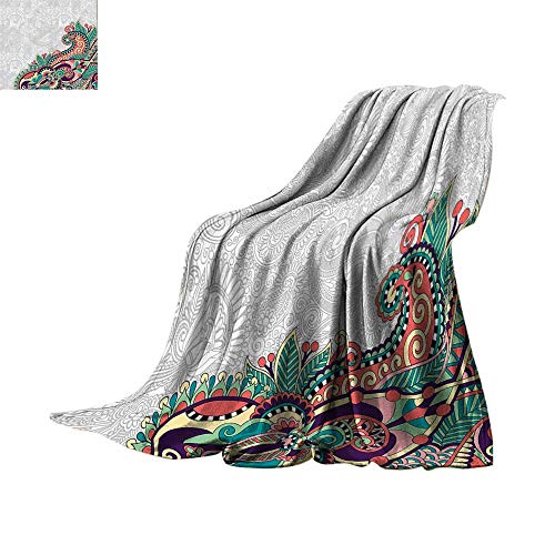 """Luckyee Lightweight Blanket Flowers,Decorative Floral Background with Branches Tribal Paisley Pattern Print,Light Grey Jade Green Oversized Travel Throw Cover Blanket Bed or Couch 70""""x60"""""""