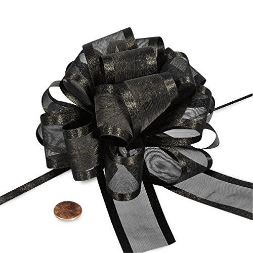 - Black Sheer Pull Bow with Satin Edges 4