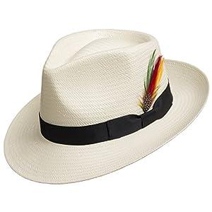 Fedora GULLPORT Reward Classic Straw Panama Hat Exotic Feather Ultrafino