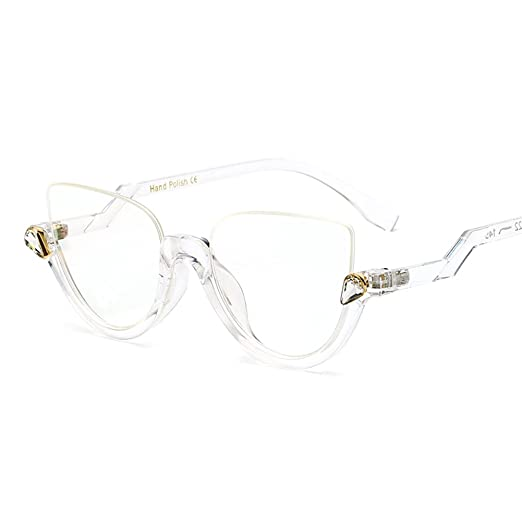 c6ccd8cf7f2ff Amazon.com  Cat Eye Glasses Half Frame Vintage Eyeglasses Women Accessories  Transparent (full clear)  Clothing
