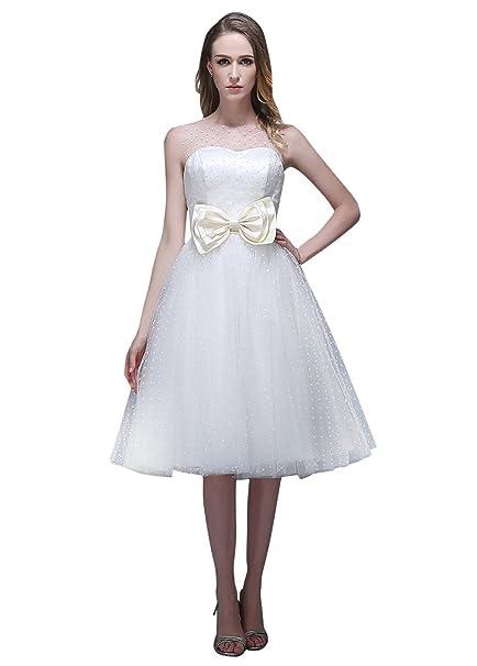 Adasbridal-vestidos de novia de Maravilloso Lunares Tul de escote Joy hasta la rodilla de