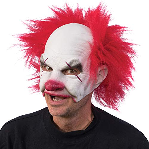 Carnival Creep Clown Latex Mask - Halloween Costume w/Crazy Red Hair -