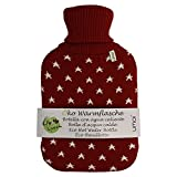 UMOI Eco Hot Water Bottle 2 Litre with High Quality Knitted Cover and Stars Design I 35 x 21 x 4,5 cm I 2l capacity I by UMOI (Red)