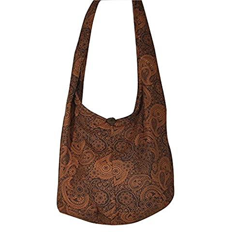 Thai Hippie Hobo Bohemian Sling Crossbody Bag Messenger Purse Handwoven Cotton Color Dark Brown.