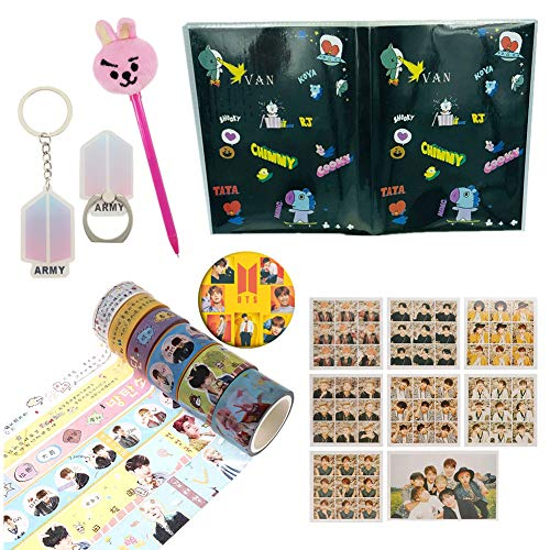Youyouchard Kpop BTS Bangtan Boys Merchandise Set|BTS Photocard Keychain Pin Stickers Pencil Phone Holder Book|BTS Gift Set for Army(Style 1-3)