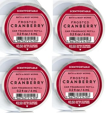Bath and Body Works Scentportable Fragrance Refill Frosted Cranberry. 0.2 Oz each