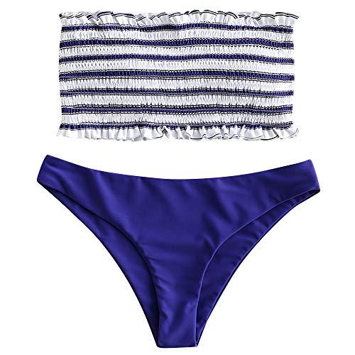 ZAFUL Women's Strapless Striped Frilled Smocked Two Piece Bandeau Bikini Set (Blue, S)