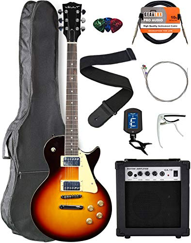 (Vault LP1 Ovangkol Fretboard Electric Guitar - Tobacco Sunburst Bundle with Amplifier, Instrument Cable, Gig Bag, Strap, Capo, Tuner, Strings, and Picks)