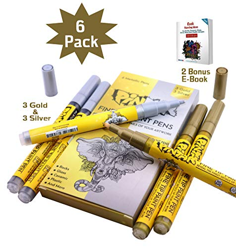 PINTAR - 3 Gold And 3 Silver Acrylic Fine Tip Paint Pens For Rock Painting Art - (6 Pack) Vibrant Colors for Wood, Glass, Metal and Ceramic - Water Resistant and Quick Drying Ink For Arts & Crafts