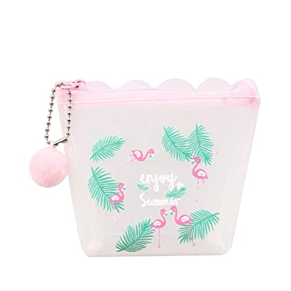 RQWY Monedero Bonito PVC Flamingo Piña Monedero Transparente ...