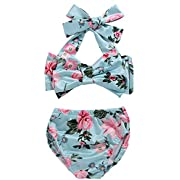 ZOFUNNY 2Pcs Baby Girls Swimsuit Tropical Bikini Bathing Suit Set Bowknot Tube Top+Floral Short Bottoms Swimwear (18-24 Months/tag100)