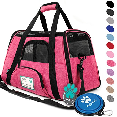 Pink Cat Carriers - PetAmi Premium Airline Approved Soft-Sided Pet Travel Carrier | Ventilated, Comfortable Design with Safety Features | Ideal for Small to Medium Sized Cats, Dogs, and Pets (Large, Heather Pink)