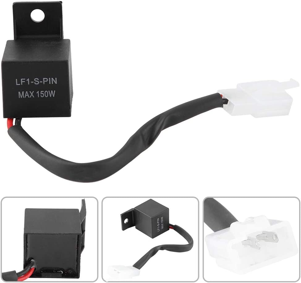 LED Flasher Relay,2 Pin Electronic Motorcycle LED Flasher Relay Turn Signal Bulb Hyper Flash LF1-S-PIN