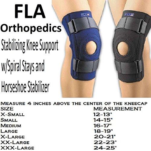 FLA Safe-T-Sport Stabilizing Knee Support, Navy, Medium (Neoprene Knee Stabilizing Brace)