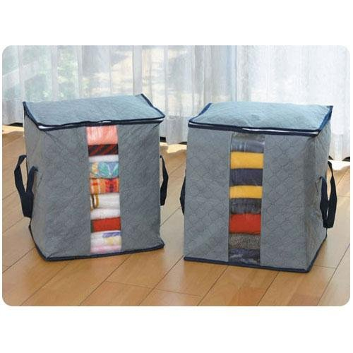 Bamboo Folding Clothes Charcoal Sweater Blanket Closet Organizer Storage Bag Box
