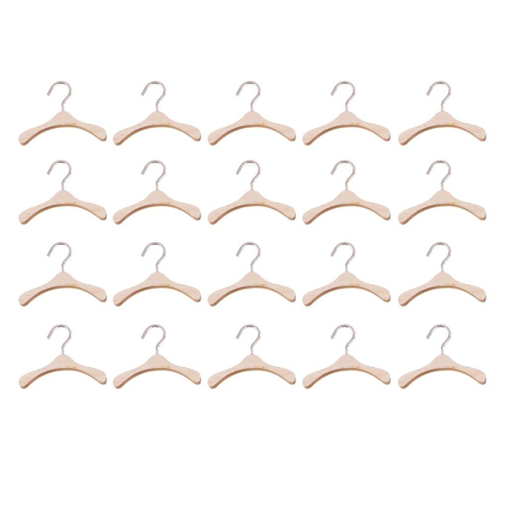 Sharplace Set di 20 Pezzi Ganci Grucce Appendino Mobili Abito Accessori per BJD Bambole Legno Metallo 6cm