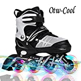 Otw-Cool Adjustable Inline Skates for Kids and Adults, Outdoor Blades Roller Skates with Full Light Up LED Wheels, Safe and Durable Inline Roller Skates for Girls and Boys, Men and Women