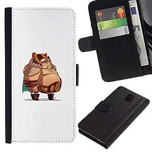LECELL--Cuero de la tarjeta la carpeta del tirón Smartphone Slots Protección Holder For Samsung Galaxy Note 3 III -- Jefe de grasa --