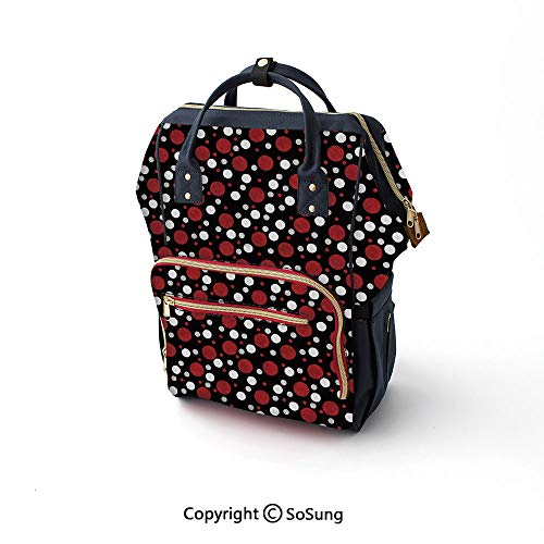 Red and Black Large Capacity Baby Bag, Retro 60s 70s Cartoon Snow Like Polka Dots Circles Rounds Nursing Bag,16.5x10.6x6.7inch,White Light Grey and Burgundy (Cartoon Characters From The 60s And 70s)
