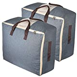 Qozary Storage Bags with Zips, 53L Duvet Storage Bag, Large Underbed Storage Bags for Clothes, Bedding, Quilt, Blankets, Moving, Made of Better and No-Smell Fabric, Laundry Bags, (Pack of 2/Grey)