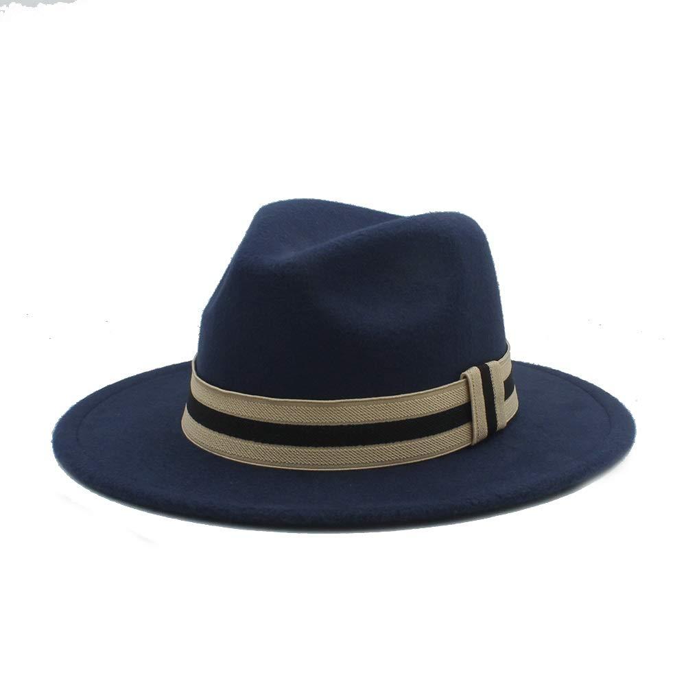 YQXR Moda Cupola Cappellini Nuovo 2019 Uomo Donna Inverno Hat Fedora con Tela Vita Cappello Panama Larga Chiesa Brim Cappello Fascinator Formato Casuale 56-58CM
