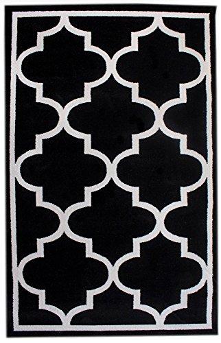 Super Area Rugs Black & Ivory Rug Bordered Morrocan Trellis Quatrefoil Design, 5-Feet by 8-Feet